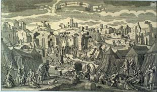 Tent city in aftermath of Lisbon earthquake, 1755
